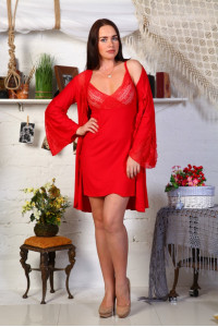 А19 Пеньюар и сорочка Юлия (Красная)