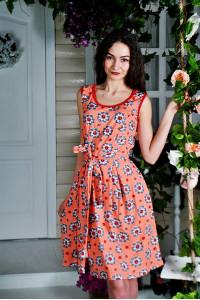 Д22 Платье Дарина (Ромашки+Коралл.)