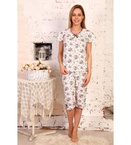 Б3 пижама Лада бриджи(коричневый букет)