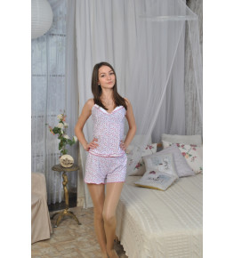 Б5 Пижама Топ+Шорты (Роз. на белом)
