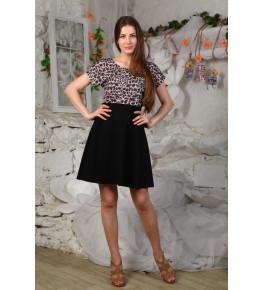 Д424 Платье Марианна (Леопард+черный)