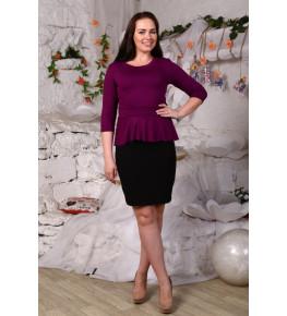Д425 Платье Ирэн однотонное (фиол.+черный)