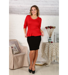 Д425 Платье Ирэн однотонное (красный+черный)