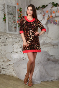 Д428 Платье Карина (Леоп.+Фуксия)
