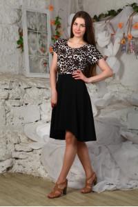 Д430 Платье Бэлла (Леопард+черный)