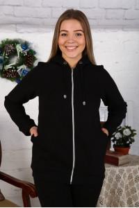 Г21 Куртка удлинённая с капюшоном футер трехнитка (Чёрная)