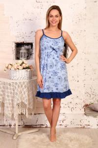А39 Сорочка Мия (Розы на голубом)