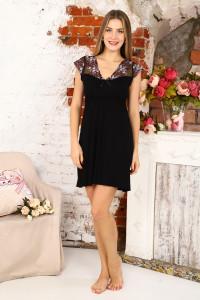 А41 Сорочка Амелия (черная с розовыми цветами)