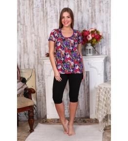 Г4 Костюм домашний футболка+леггинсы (Сиреневые цветы)