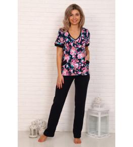 Г5 Костюм с брюками, короткий рукав (нежно-розовые цветы)