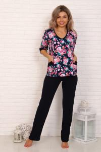 Г6 Костюм с брюками, длинный рукав (нежно розовые цветы)