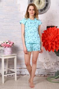 Б2 Пижама Лада шорты (цветы на голубом)