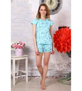 Б2 Пижама Лада шорты (цветы +бабочки на голубом)