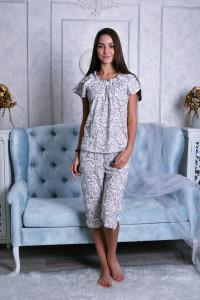 Б3 Пижама Лада бриджи (узоры на молочном)