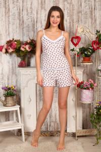 Б6 Пижамы Топ+Шорты (Сердечки на молочном)