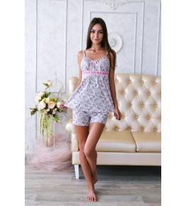Б16 Пижама Царица шорты (розовые огурцы)