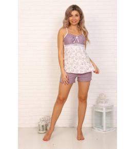 Б16 Пижама Царица шорты (горох+ сердечки на молочном)