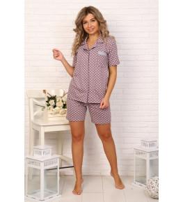 Б32 Пижама Сон с шортами (горох на пурпурном)