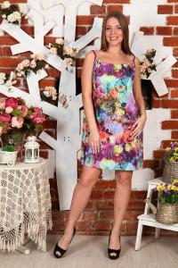 Д18 Сарафан Евдокия масло(разноцветные цветы)