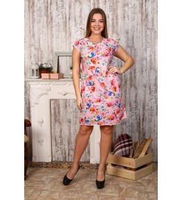 Д406 Платье Марго(цветы на розовом)