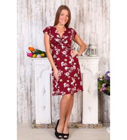 Д409 Платье Софья (цветы на бордо)