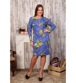 Д414 Платье Светлана (цветы на голубом)