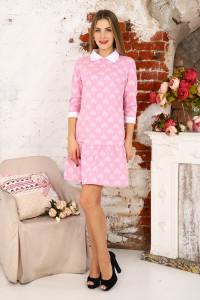 Д438 Платье Валерия (сердечки на розовом)