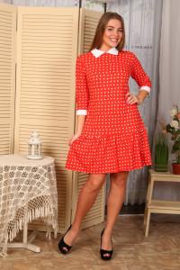 Д438 Платье Валерия (сердечки на красном)