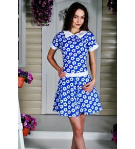 Д462 Платье Адель (цветы на синем)