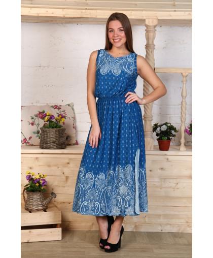 Д468 Платье Клеопатра (огурцы на синем)