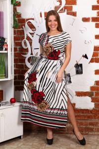 Д470 Платье Лейла (розы на полосе)