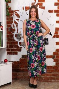 Д471 Платье Клеопатра (розовые подсолнухи)