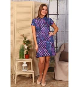 Д473 Платье Поло Лика (розовый горох на джинсе)