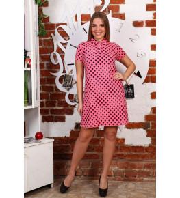 Д474 Платье Поло Лика (горох на розовом)