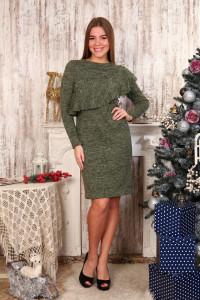 Д481 Платье Клавдия волан (зелёное)
