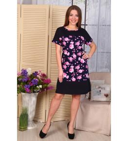 Д486 Платье Нинель (розовые цветы на т.син.)