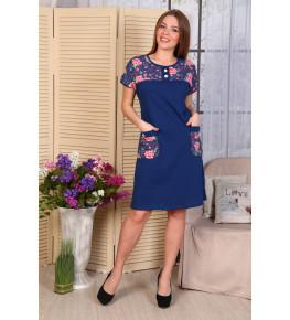 Д487 Платье Мишель (розочки+синее)