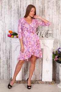Д490 Платье Антонина (лилии на сиреневом)