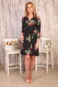 Д504 Платье Роксана (цветы на полосе)