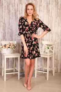 Д505 Платье Амалия  (цветы на черном)