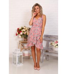 Д523 Платье Нимфа (цветы на розовом)