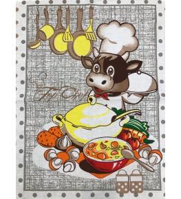 Е11 Полотенце вафельное  Коровки в горошках(В ассортименте) 50*60