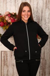 Г19 Куртка с капюшоном  футер трехнитка (черная)